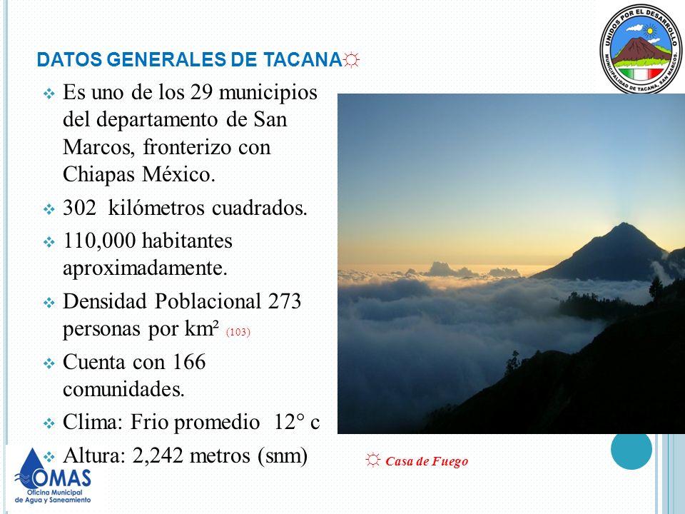 DATOS GENERALES DE TACANA Es uno de los 29 municipios del departamento de San Marcos, fronterizo con Chiapas México. 302 kilómetros cuadrados. 110,000