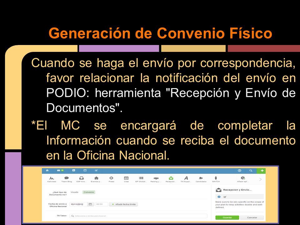Cuando se haga el envío por correspondencia, favor relacionar la notificación del envío en PODIO: herramienta