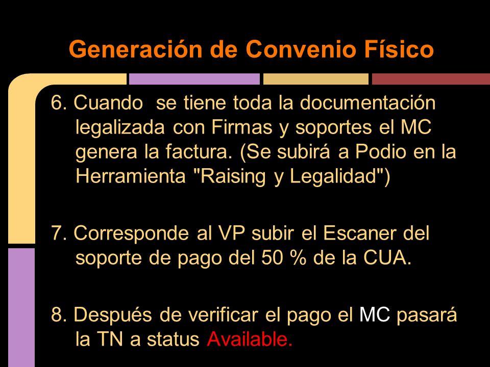 6. Cuando se tiene toda la documentación legalizada con Firmas y soportes el MC genera la factura. (Se subirá a Podio en la Herramienta