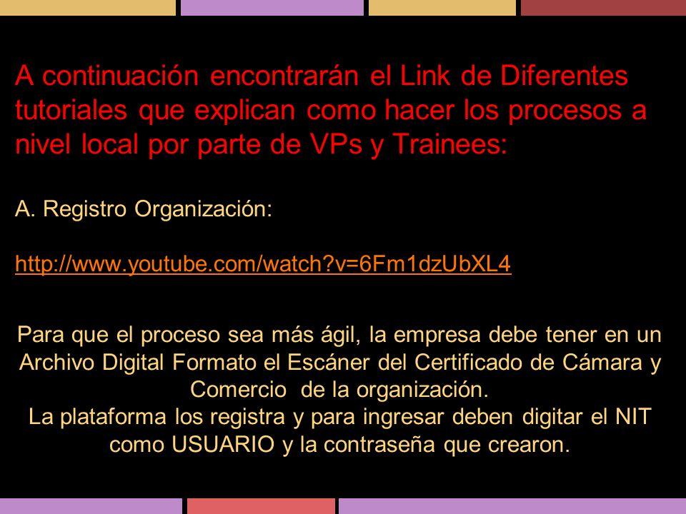 A continuación encontrarán el Link de Diferentes tutoriales que explican como hacer los procesos a nivel local por parte de VPs y Trainees: A. Registr