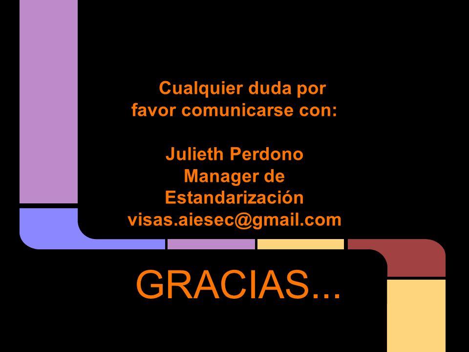 Cualquier duda por favor comunicarse con: Julieth Perdono Manager de Estandarización visas.aiesec@gmail.com GRACIAS...