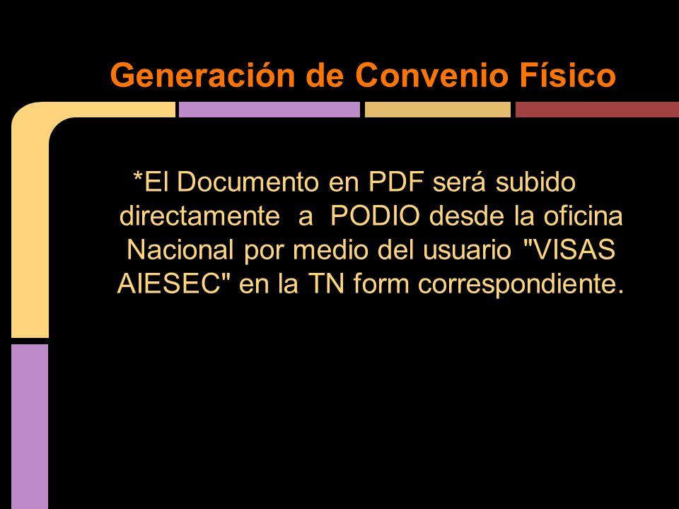 *El Documento en PDF será subido directamente a PODIO desde la oficina Nacional por medio del usuario