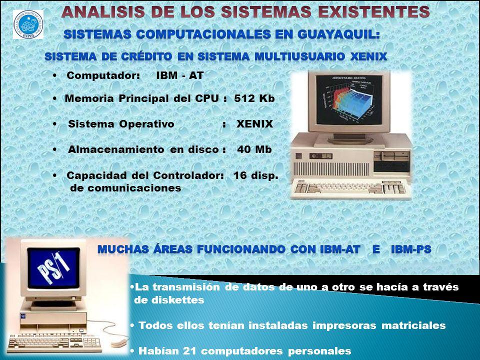 Computador: IBM - AT Memoria Principal del CPU : 512 Kb Sistema Operativo : XENIX Almacenamiento en disco : 40 Mb Capacidad del Controlador: 16 disp.