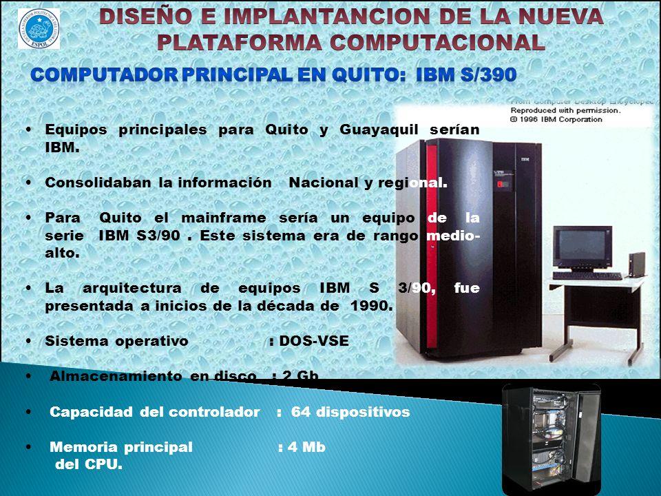 Equipos principales para Quito y Guayaquil serían IBM. Consolidaban la información Nacional y regional. Para Quito el mainframe sería un equipo de la