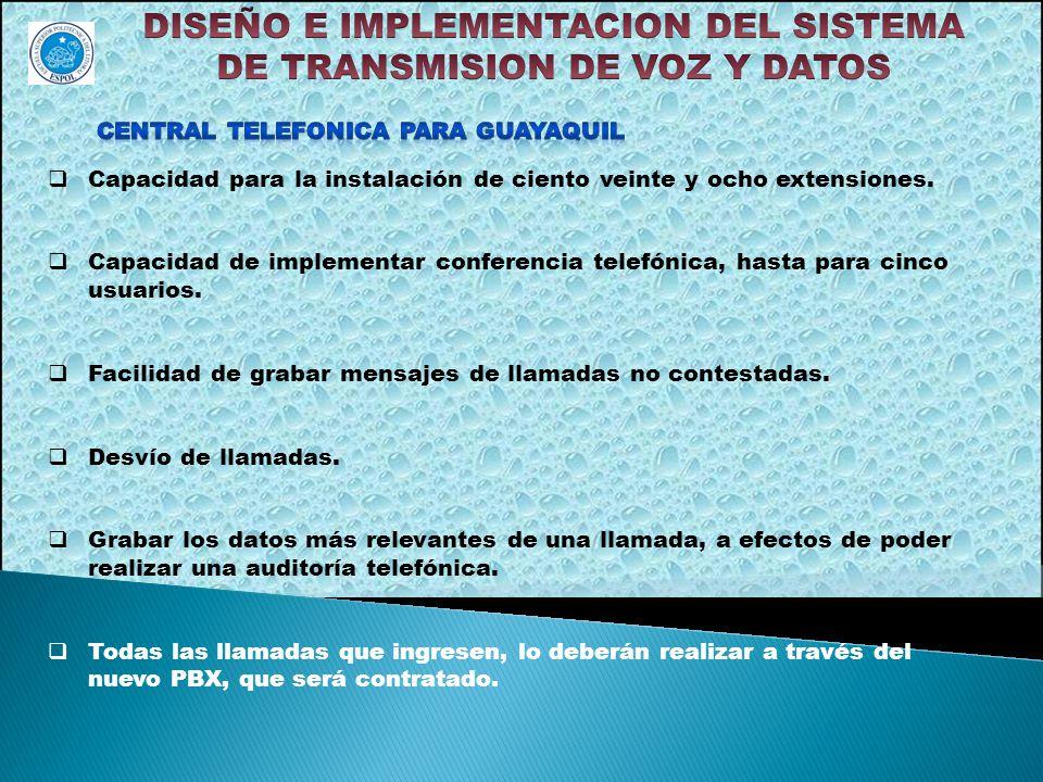Capacidad para la instalación de ciento veinte y ocho extensiones. Capacidad de implementar conferencia telefónica, hasta para cinco usuarios. Facilid