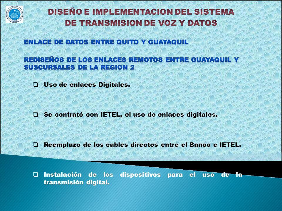 Uso de enlaces Digitales. Se contrató con IETEL, el uso de enlaces digitales. Reemplazo de los cables directos entre el Banco e IETEL. Instalación de