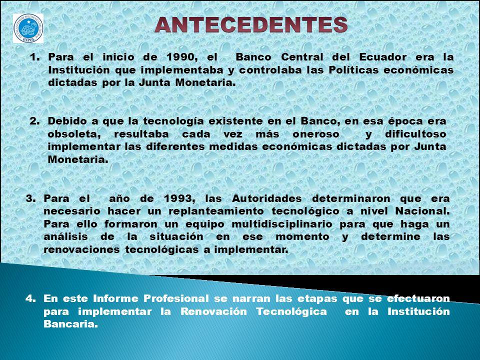 1.Para el inicio de 1990, el Banco Central del Ecuador era la Institución que implementaba y controlaba las Políticas económicas dictadas por la Junta