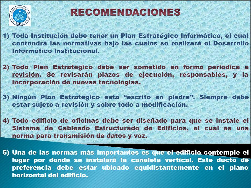 1)Toda Institución debe tener un Plan Estratégico Informático, el cual contendrá las normativas bajo las cuales se realizará el Desarrollo Informático