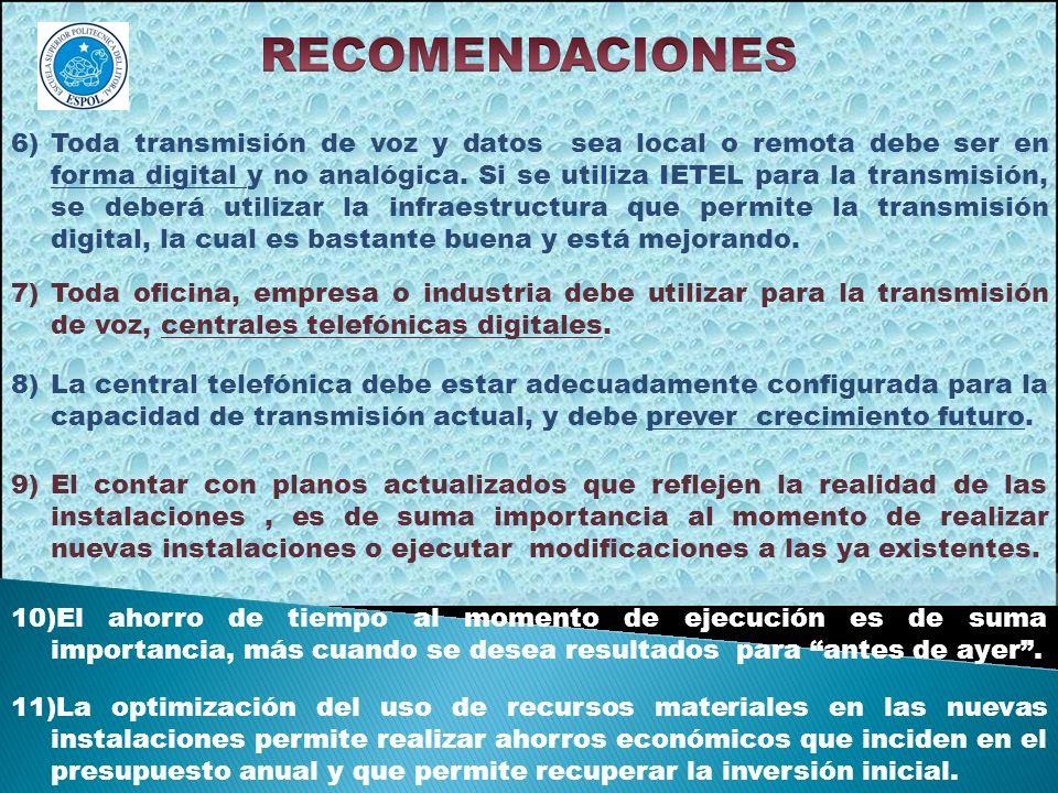 6)Toda transmisión de voz y datos sea local o remota debe ser en forma digital y no analógica. Si se utiliza IETEL para la transmisión, se deberá util