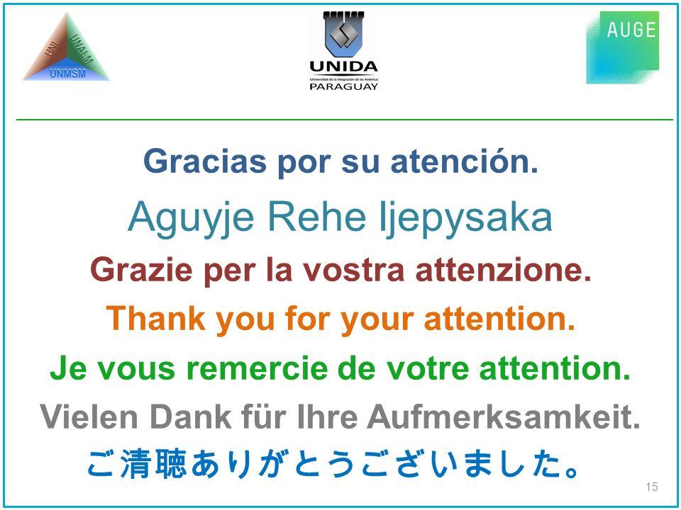 Gracias por su atención. Aguyje Rehe Ijepysaka Grazie per la vostra attenzione.