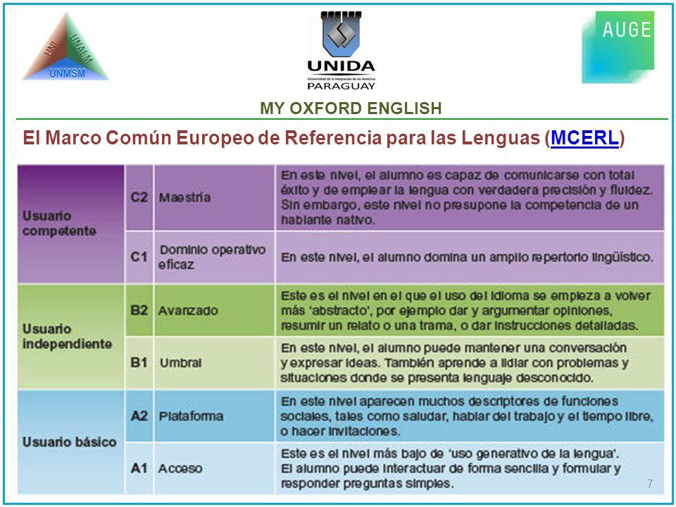 MY OXFORD ENGLISH: EQUIVALENCIA DE NIVELES CON MCERLMCERL 8