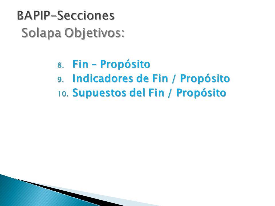 8. Fin – Propósito 9. Indicadores de Fin / Propósito 10. Supuestos del Fin / Propósito