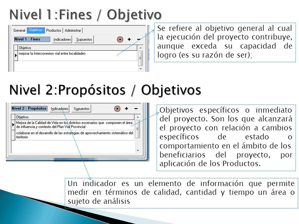 Se refiere al objetivo general al cual la ejecución del proyecto contribuye, aunque exceda su capacidad de logro (es su razón de ser); Objetivos específicos o inmediato del proyecto.