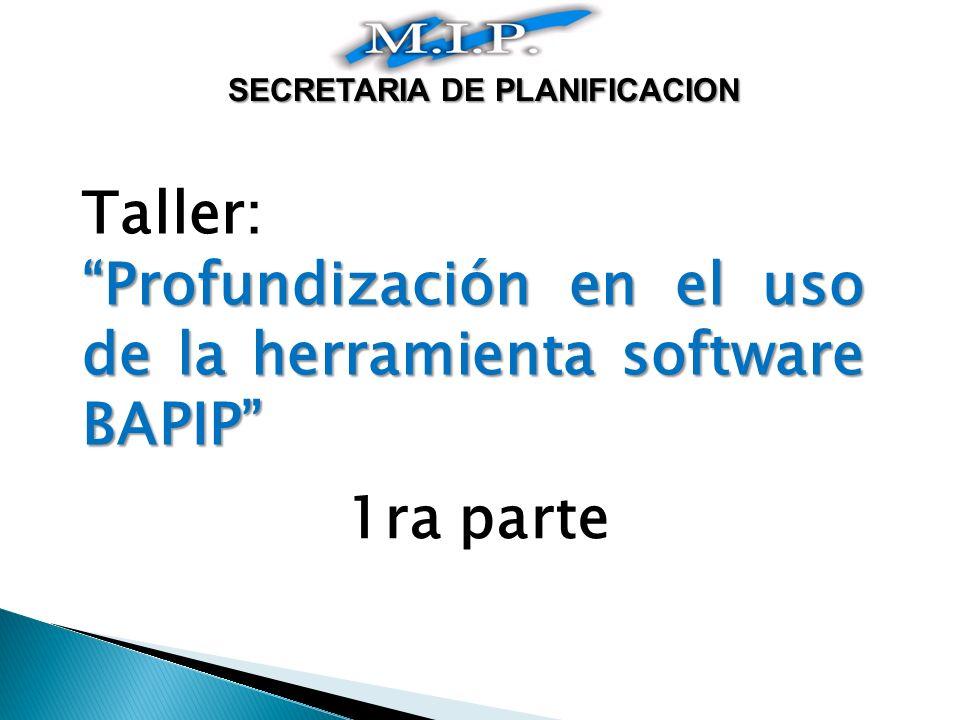 Taller: Profundización en el uso de la herramienta software BAPIP 1ra parte SECRETARIA DE PLANIFICACION
