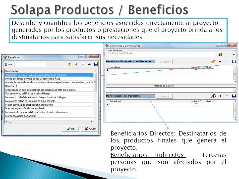 Describe y cuantifica los beneficios asociados directamente al proyecto; generados por los productos o prestaciones que el proyecto brinda a los destinatarios para satisfacer sus necesidades Beneficiarios Directos: Destinatarios de los productos finales que genera el proyecto.