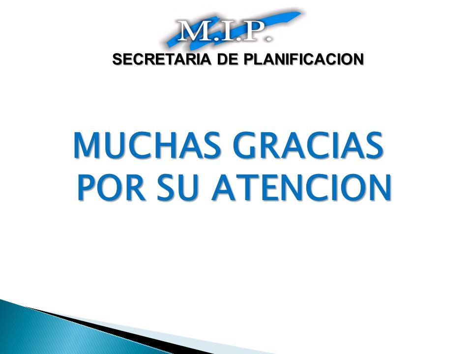 MUCHAS GRACIAS POR SU ATENCION SECRETARIA DE PLANIFICACION