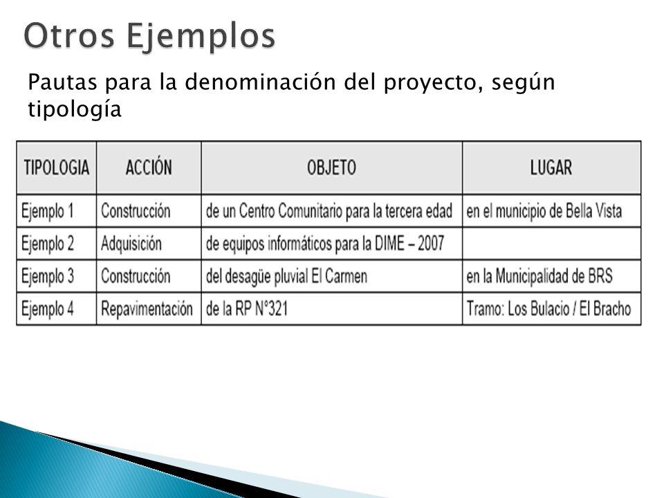 Pautas para la denominación del proyecto, según tipología