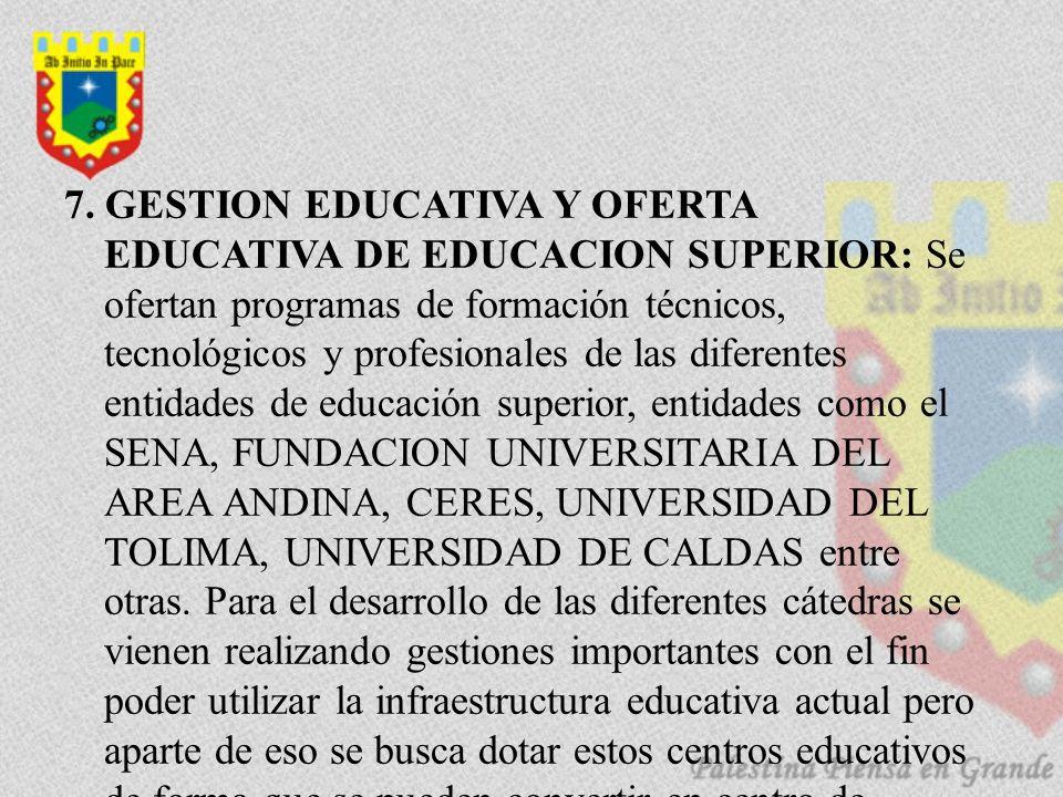 7. GESTION EDUCATIVA Y OFERTA EDUCATIVA DE EDUCACION SUPERIOR: Se ofertan programas de formación técnicos, tecnológicos y profesionales de las diferen