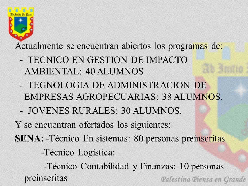 Actualmente se encuentran abiertos los programas de: - TECNICO EN GESTION DE IMPACTO AMBIENTAL: 40 ALUMNOS - TEGNOLOGIA DE ADMINISTRACION DE EMPRESAS AGROPECUARIAS: 38 ALUMNOS.