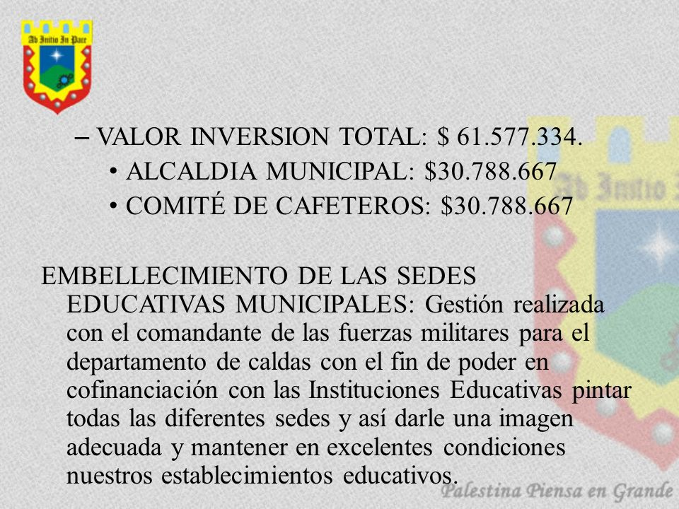 –VALOR INVERSION TOTAL: $ 61.577.334.