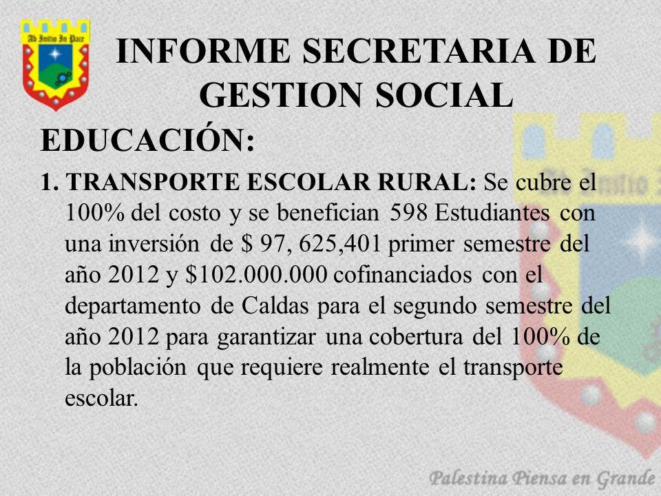 INFORME SECRETARIA DE GESTION SOCIAL EDUCACIÓN: 1.