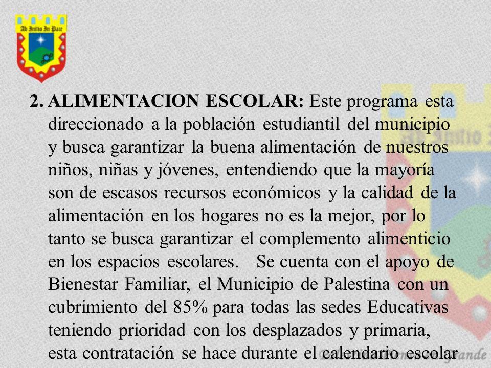 2. ALIMENTACION ESCOLAR: Este programa esta direccionado a la población estudiantil del municipio y busca garantizar la buena alimentación de nuestros