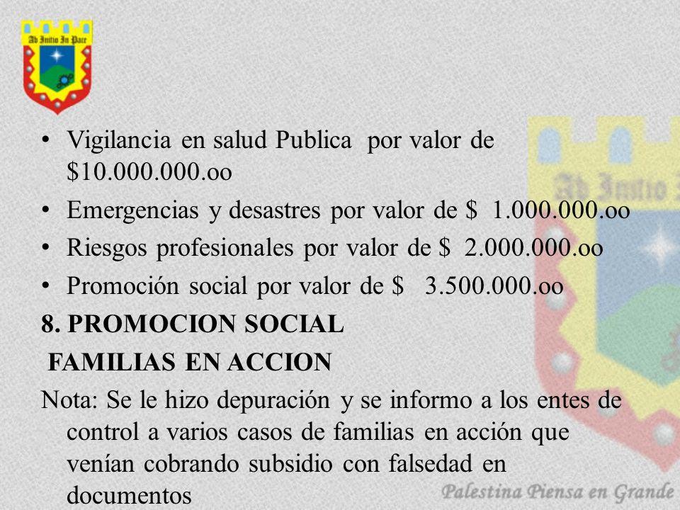 Vigilancia en salud Publica por valor de $10.000.000.oo Emergencias y desastres por valor de $ 1.000.000.oo Riesgos profesionales por valor de $ 2.000.000.oo Promoción social por valor de $ 3.500.000.oo 8.