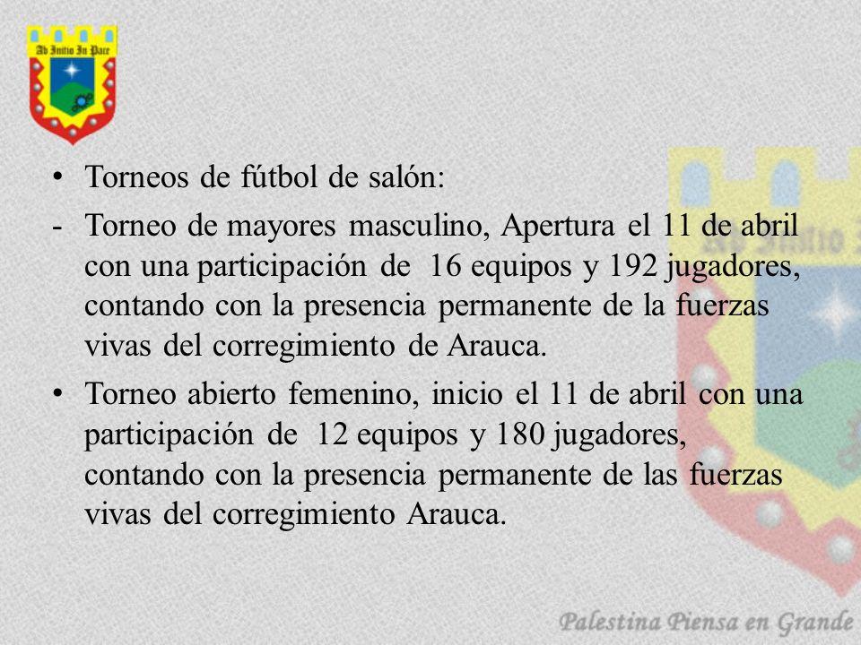 Torneos de fútbol de salón: -Torneo de mayores masculino, Apertura el 11 de abril con una participación de 16 equipos y 192 jugadores, contando con la presencia permanente de la fuerzas vivas del corregimiento de Arauca.