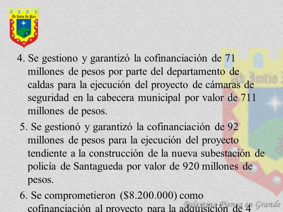 4. Se gestiono y garantizó la cofinanciación de 71 millones de pesos por parte del departamento de caldas para la ejecución del proyecto de cámaras de
