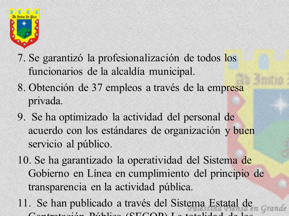 7. Se garantizó la profesionalización de todos los funcionarios de la alcaldía municipal.