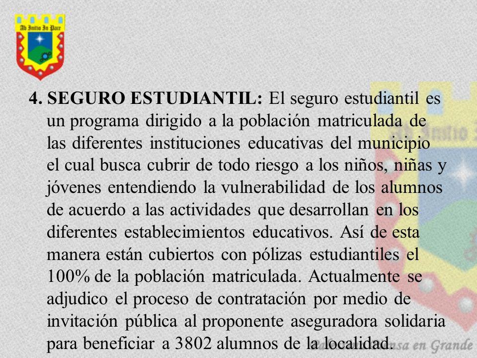 4. SEGURO ESTUDIANTIL: El seguro estudiantil es un programa dirigido a la población matriculada de las diferentes instituciones educativas del municip