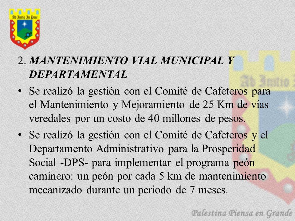 2. MANTENIMIENTO VIAL MUNICIPAL Y DEPARTAMENTAL Se realizó la gestión con el Comité de Cafeteros para el Mantenimiento y Mejoramiento de 25 Km de vías