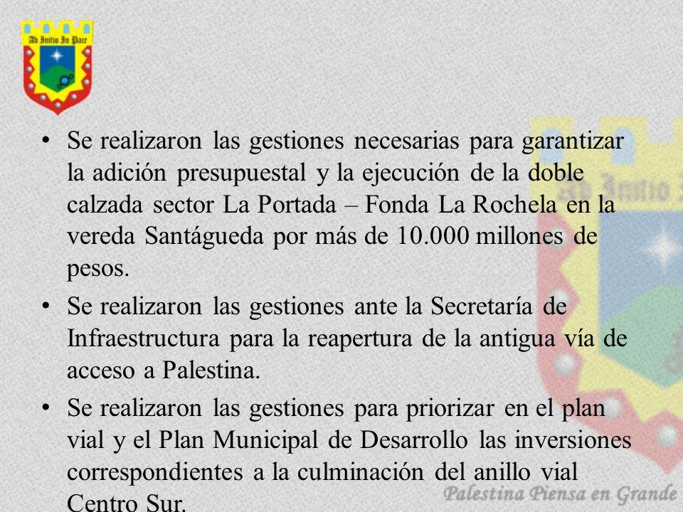 Se realizaron las gestiones necesarias para garantizar la adición presupuestal y la ejecución de la doble calzada sector La Portada – Fonda La Rochela en la vereda Santágueda por más de 10.000 millones de pesos.