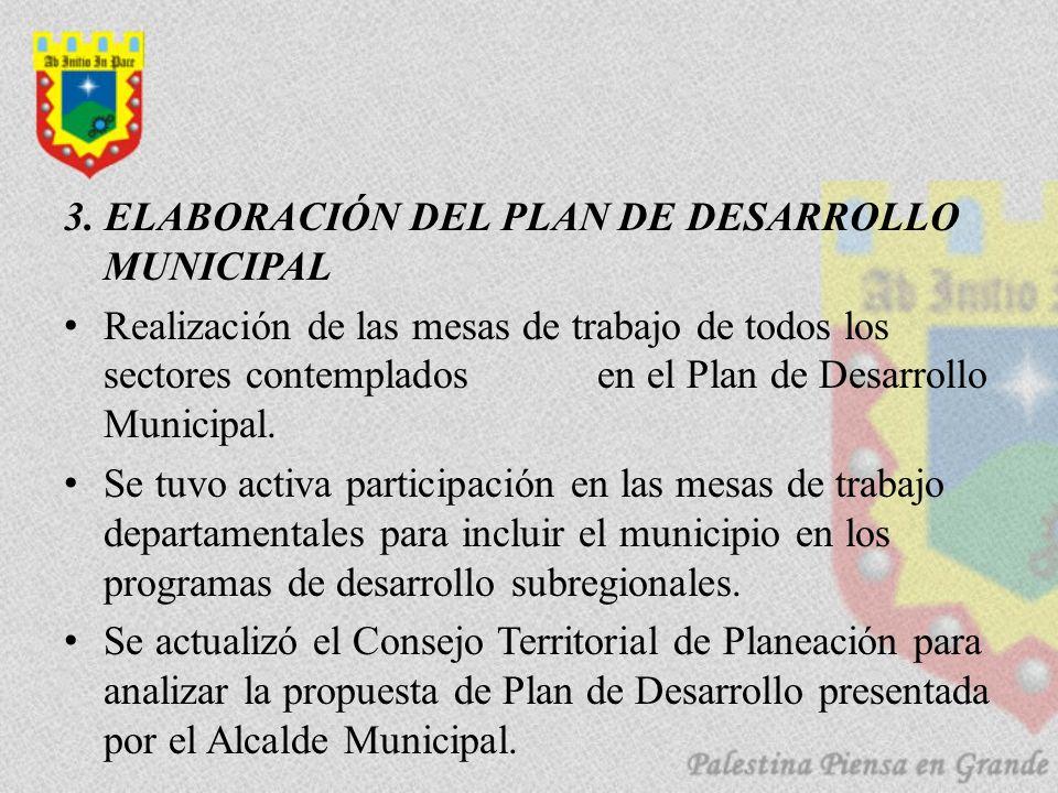 3. ELABORACIÓN DEL PLAN DE DESARROLLO MUNICIPAL Realización de las mesas de trabajo de todos los sectores contemplados en el Plan de Desarrollo Munici