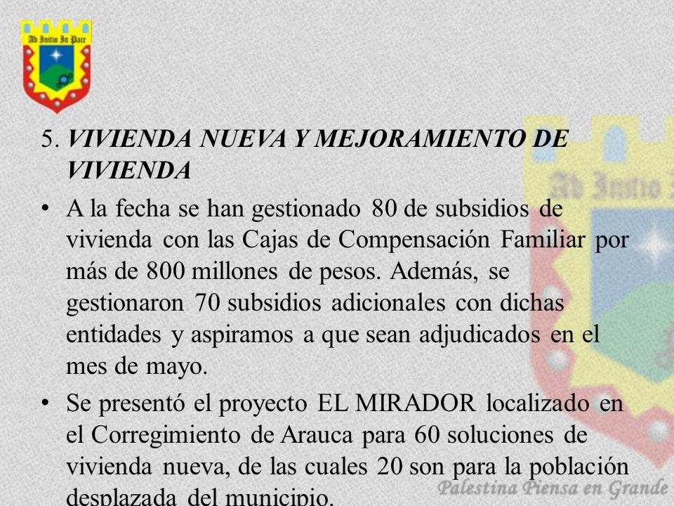 5. VIVIENDA NUEVA Y MEJORAMIENTO DE VIVIENDA A la fecha se han gestionado 80 de subsidios de vivienda con las Cajas de Compensación Familiar por más d