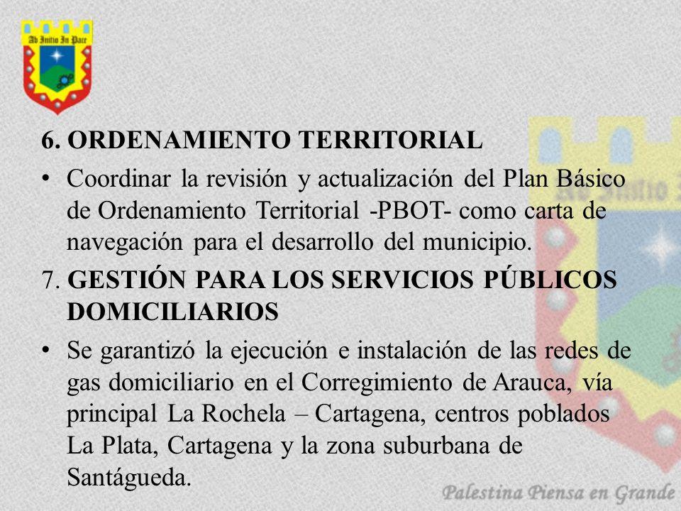 6. ORDENAMIENTO TERRITORIAL Coordinar la revisión y actualización del Plan Básico de Ordenamiento Territorial -PBOT- como carta de navegación para el