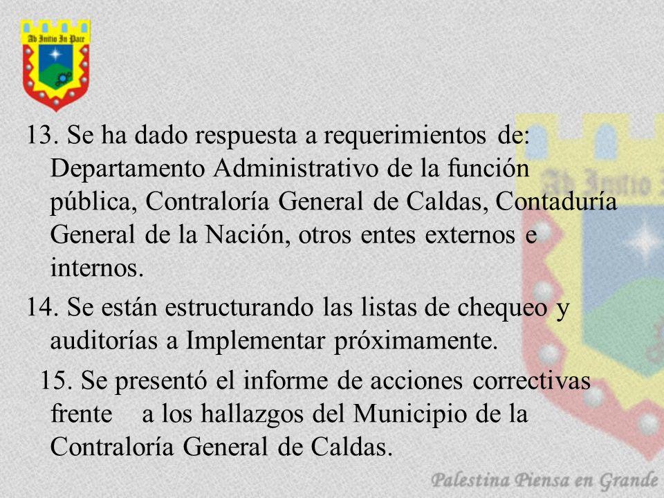 13. Se ha dado respuesta a requerimientos de: Departamento Administrativo de la función pública, Contraloría General de Caldas, Contaduría General de