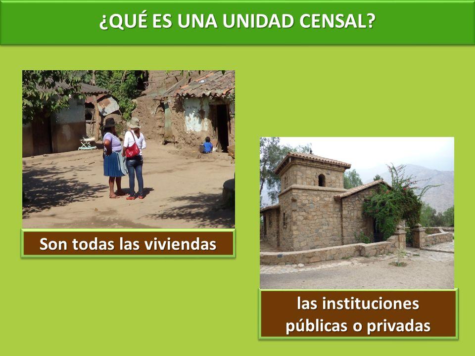 ¿QUÉ ES UNA UNIDAD CENSAL? Son todas las viviendas las instituciones públicas o privadas