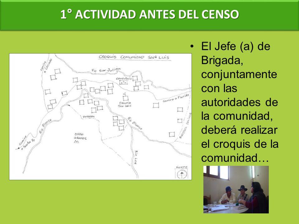 1° ACTIVIDAD ANTES DEL CENSO El Jefe (a) de Brigada, conjuntamente con las autoridades de la comunidad, deberá realizar el croquis de la comunidad…