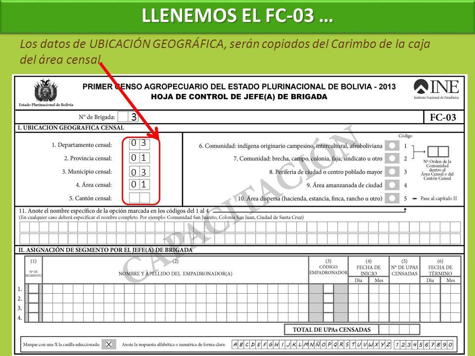 3 Los datos de UBICACIÓN GEOGRÁFICA, serán copiados del Carimbo de la caja del área censal. 0 3 0 1 LLENEMOS EL FC-03 …