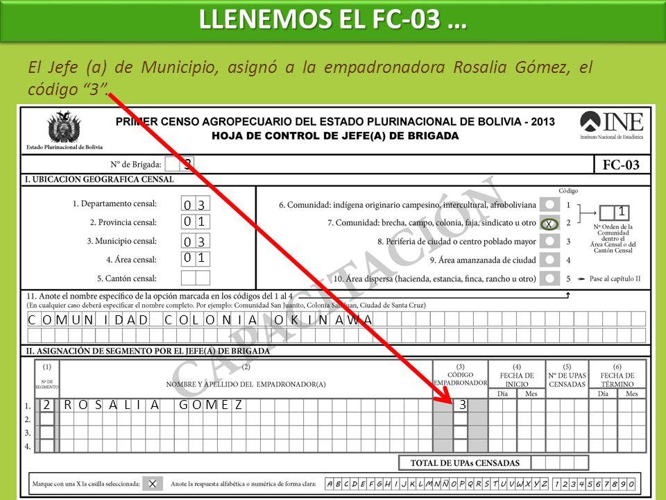 3 0 3 0 1 El Jefe (a) de Municipio, asignó a la empadronadora Rosalia Gómez, el código 3. 1 C O M U N I D A D C O L O N I A O K I N A W A 2R O S A L I