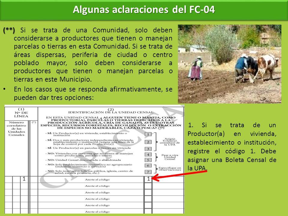 Algunas aclaraciones del FC-04 (**) (**) Si se trata de una Comunidad, solo deben considerarse a productores que tienen o manejan parcelas o tierras e