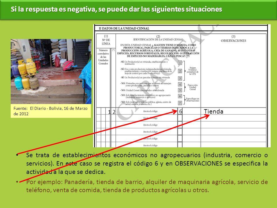 Se trata de establecimientos económicos no agropecuarios (industria, comercio o servicios). En este caso se registra el código 6 y en OBSERVACIONES se