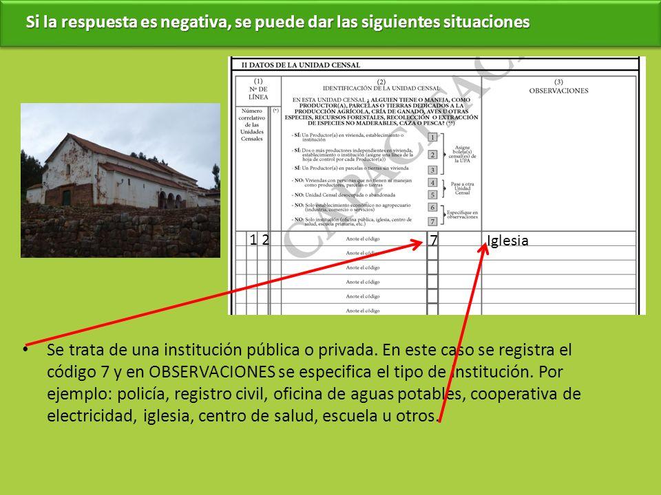 Se trata de una institución pública o privada. En este caso se registra el código 7 y en OBSERVACIONES se especifica el tipo de institución. Por ejemp