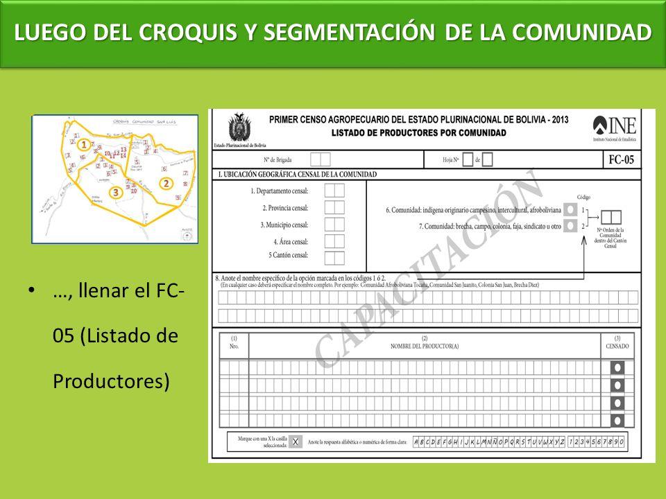 LUEGO DEL CROQUIS Y SEGMENTACIÓN DE LA COMUNIDAD …, llenar el FC- 05 (Listado de Productores)