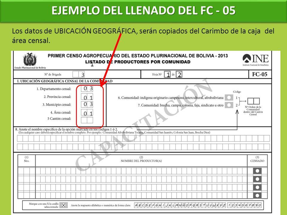 EJEMPLO DEL LLENADO DEL FC - 05 1 3 Los datos de UBICACIÓN GEOGRÁFICA, serán copiados del Carimbo de la caja del área censal. 12 0 3 0 1 0 3 0 1