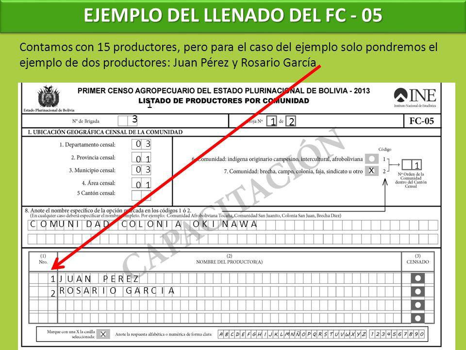 EJEMPLO DEL LLENADO DEL FC - 05 1 3 1 0 3 0 1 0 3 0 1 Contamos con 15 productores, pero para el caso del ejemplo solo pondremos el ejemplo de dos prod