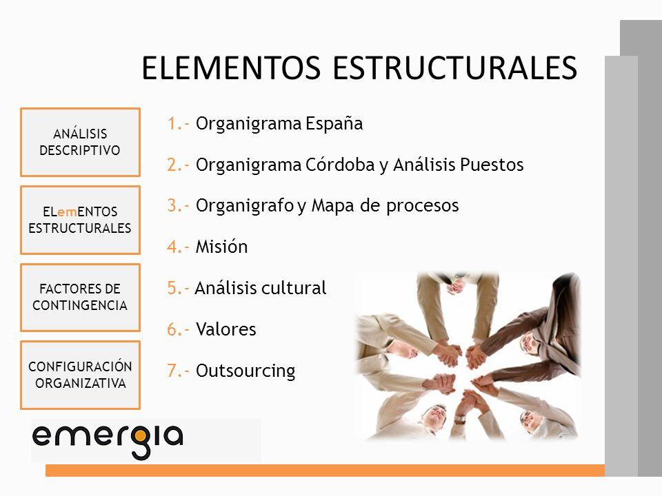 ELemENTOS ESTRUCTURALES FACTORES DE CONTINGENCIA CONFIGURACIÓN ORGANIZATIVA ANÁLISIS DESCRIPTIVO CARACTERÍSTICAS emERGIA Córdoba es una empresa grande