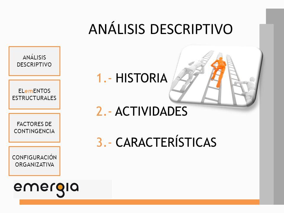 ELemENTOS ESTRUCTURALES FACTORES DE CONTINGENCIA CONFIGURACIÓN ORGANIZATIVA ANÁLISIS DESCRIPTIVO EMERGIA CONSULTING BPO