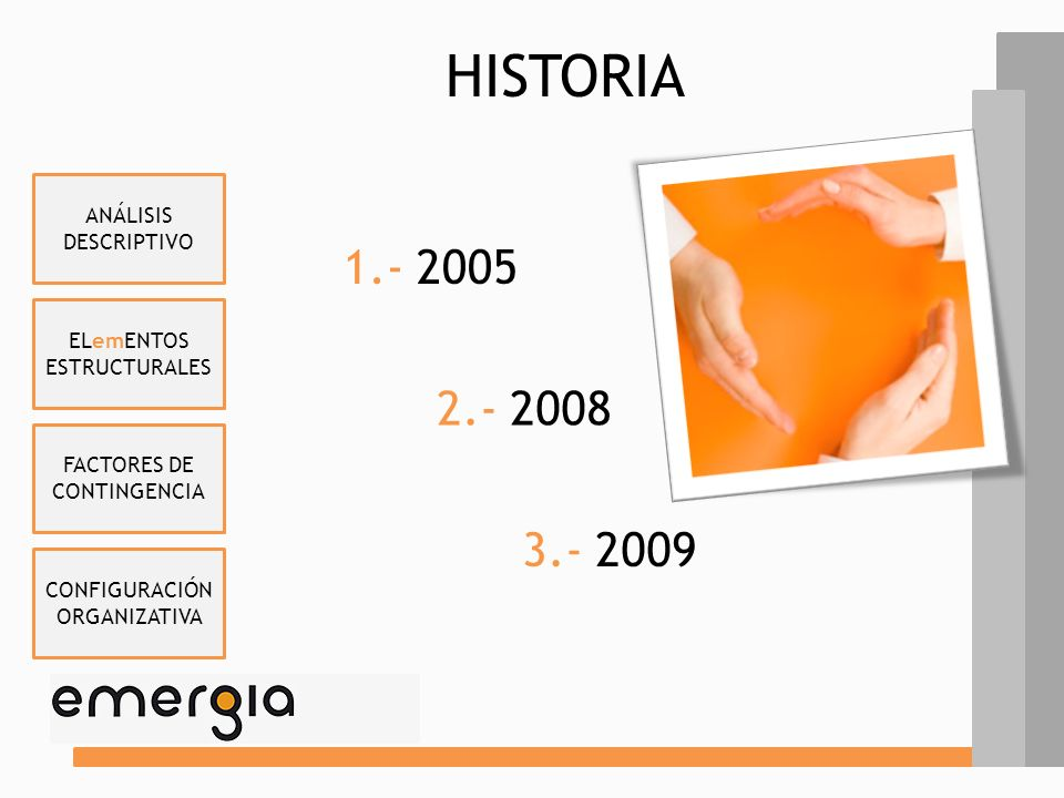 ELemENTOS ESTRUCTURALES FACTORES DE CONTINGENCIA CONFIGURACIÓN ORGANIZATIVA ANÁLISIS DESCRIPTIVO 1.- HISTORIA 2.- ACTIVIDADES 3.- CARACTERÍSTICAS